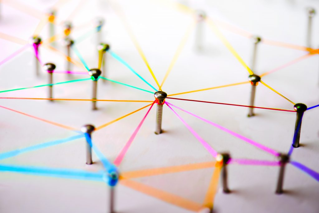 Network symbolized by pins